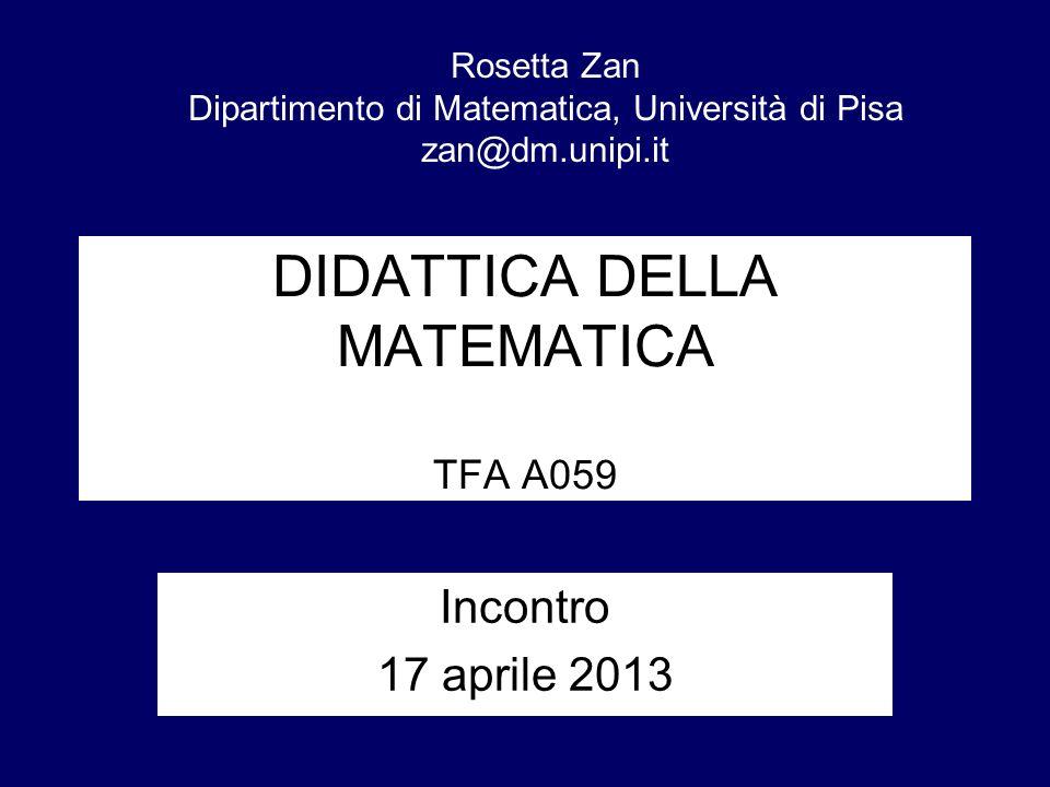 DIDATTICA DELLA MATEMATICA TFA A059