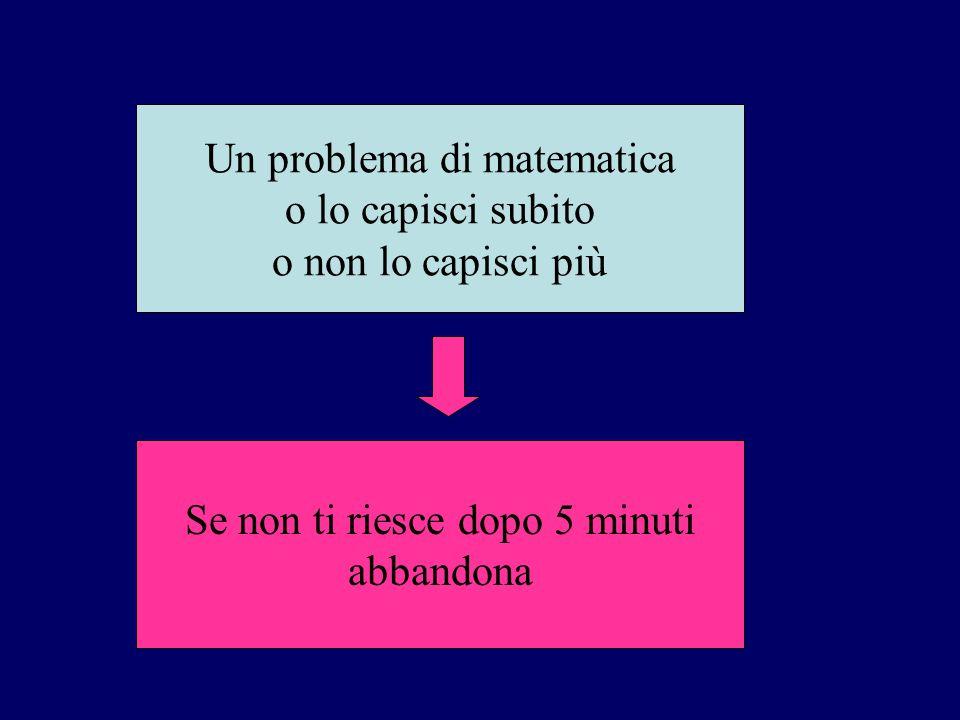 Un problema di matematica o lo capisci subito o non lo capisci più