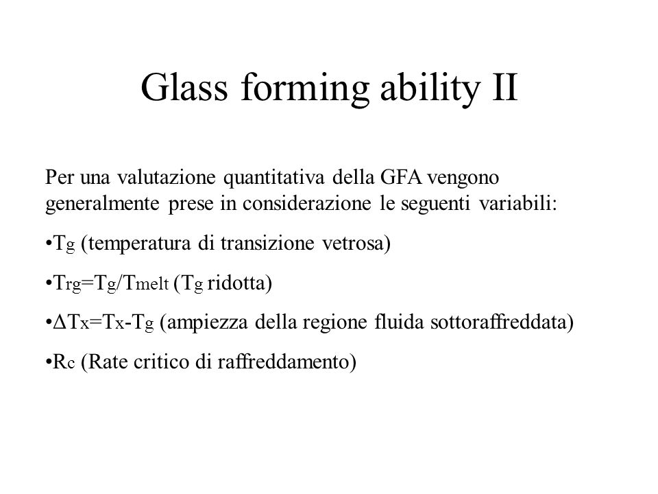 Glass forming ability II