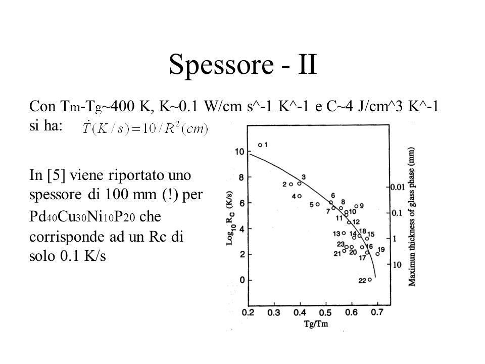 Spessore - II Con Tm-Tg~400 K, K~0.1 W/cm s^-1 K^-1 e C~4 J/cm^3 K^-1 si ha: