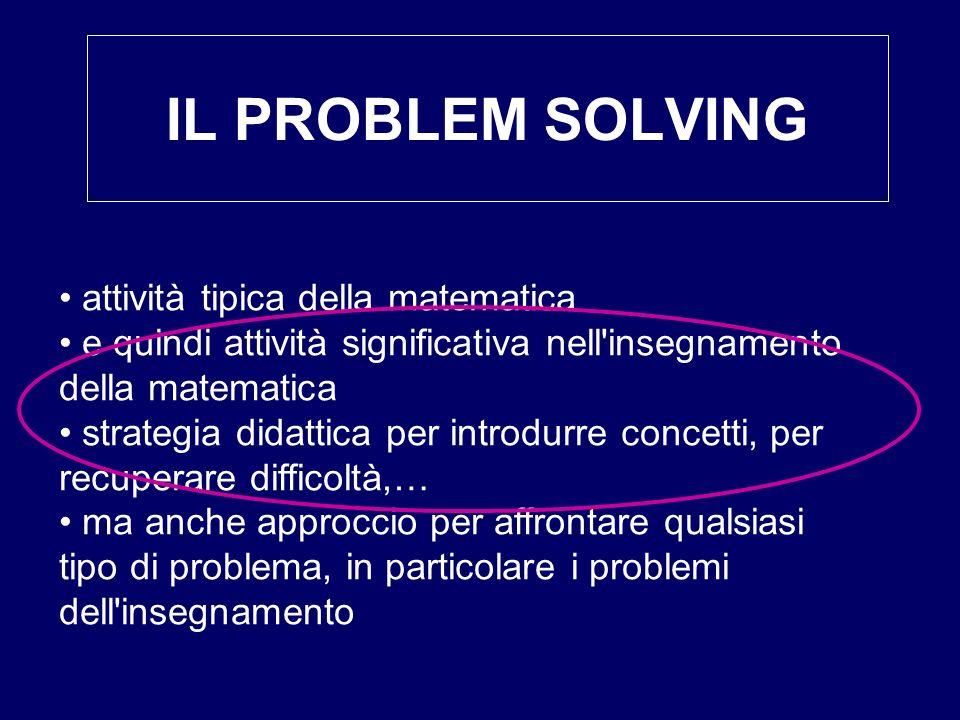 IL PROBLEM SOLVING attività tipica della matematica
