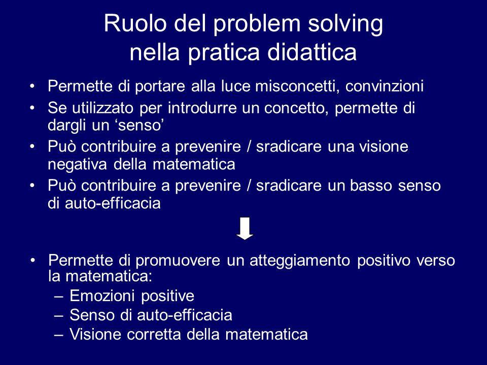 Ruolo del problem solving nella pratica didattica