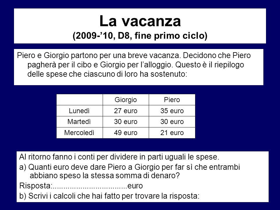 La vacanza (2009-'10, D8, fine primo ciclo)