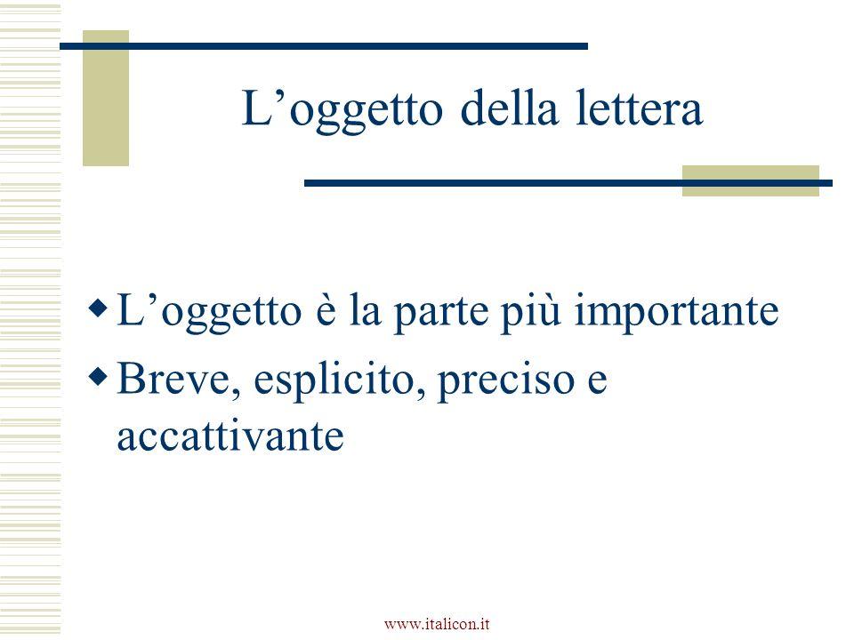 L'oggetto della lettera