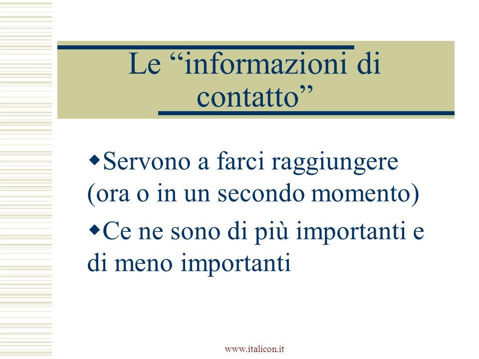 Le informazioni di contatto