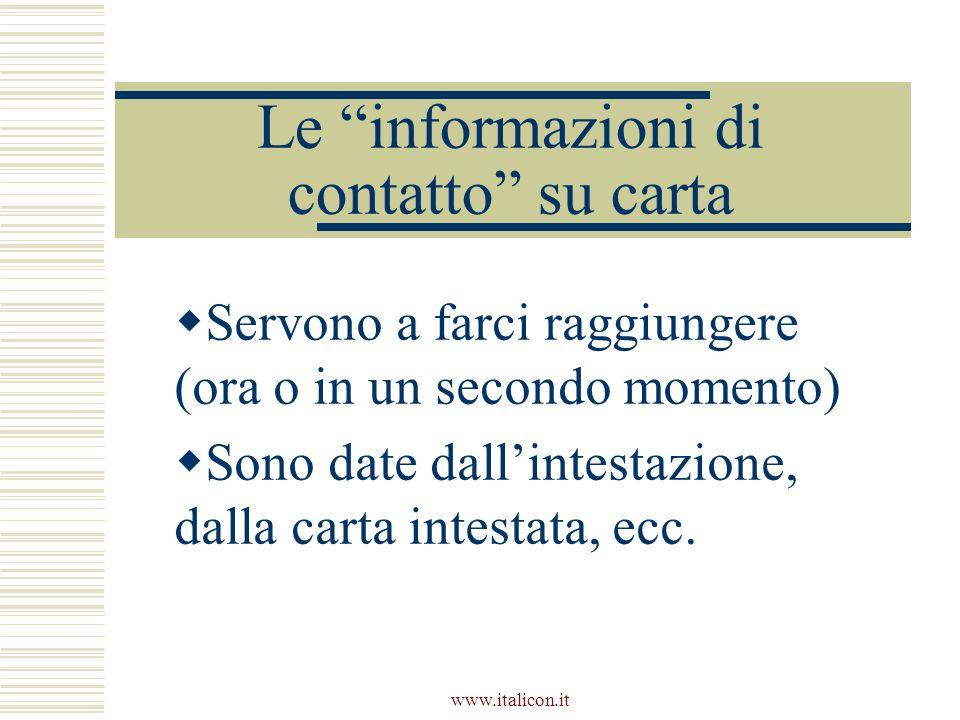 Le informazioni di contatto su carta