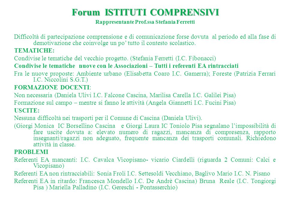 Forum ISTITUTI COMPRENSIVI Rappresentante Prof.ssa Stefania Ferretti