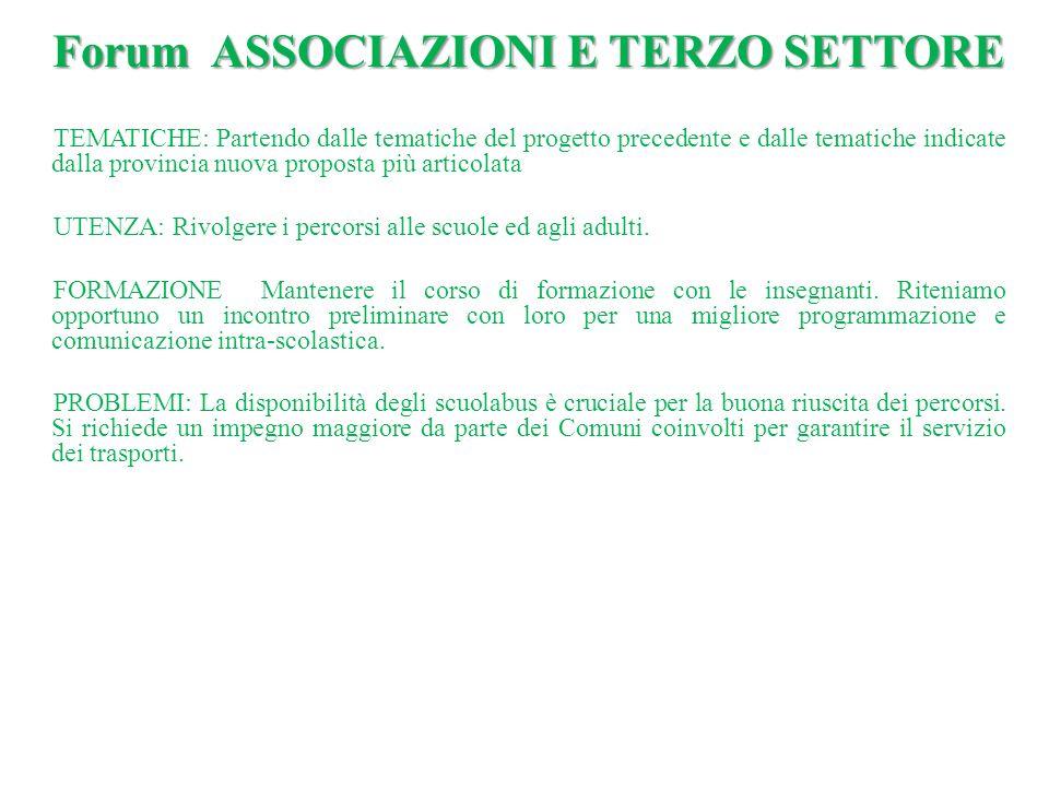 Forum ASSOCIAZIONI E TERZO SETTORE