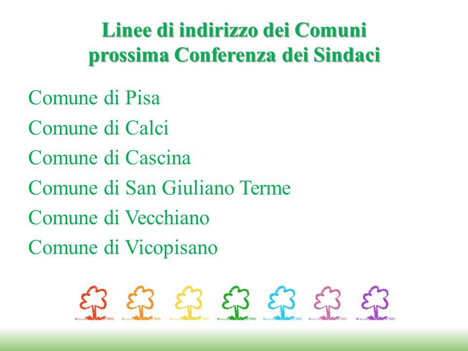 Linee di indirizzo dei Comuni prossima Conferenza dei Sindaci