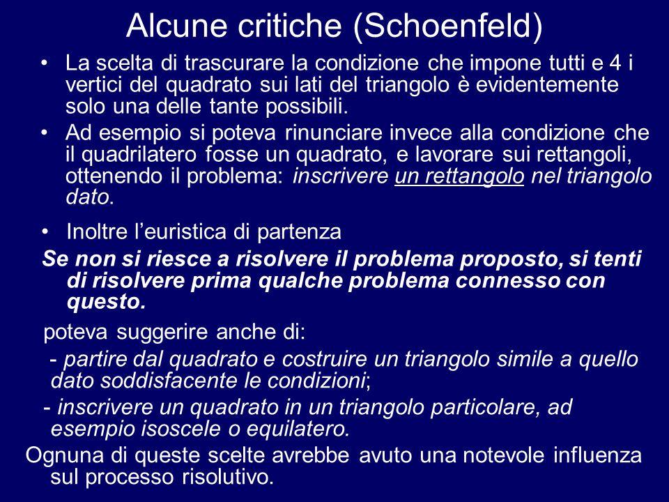 Alcune critiche (Schoenfeld)