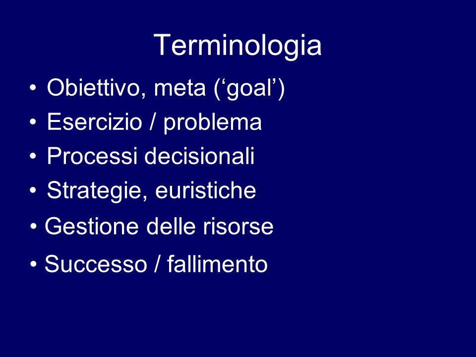 Terminologia Obiettivo, meta ('goal') Esercizio / problema