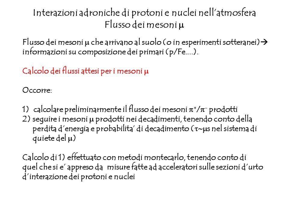 Interazioni adroniche di protoni e nuclei nell'atmosfera Flusso dei mesoni m