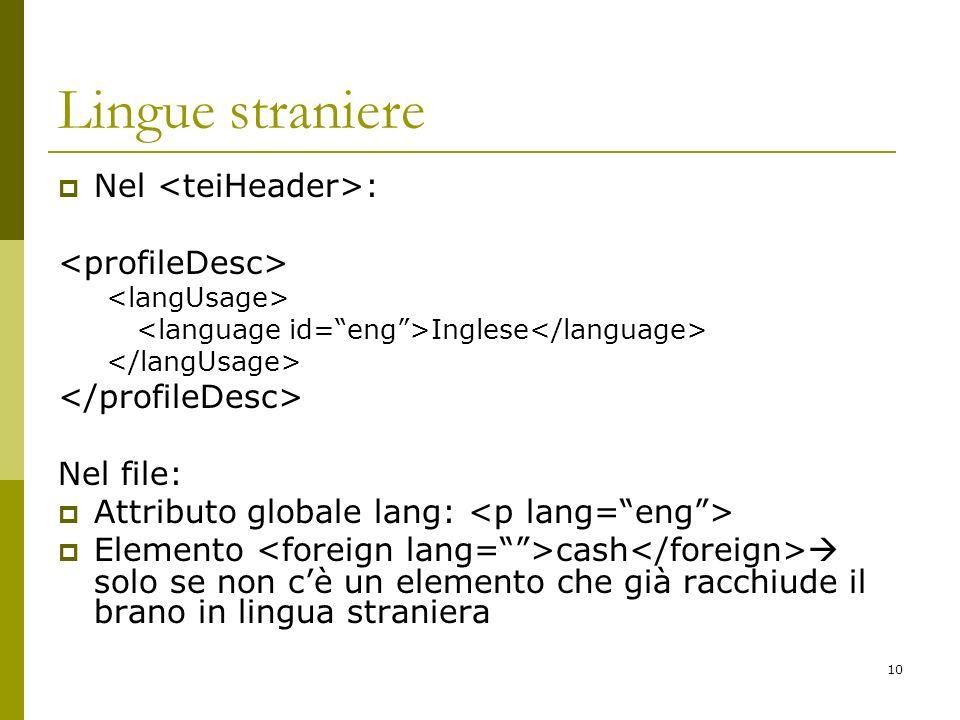 Lingue straniere Nel <teiHeader>: <profileDesc>