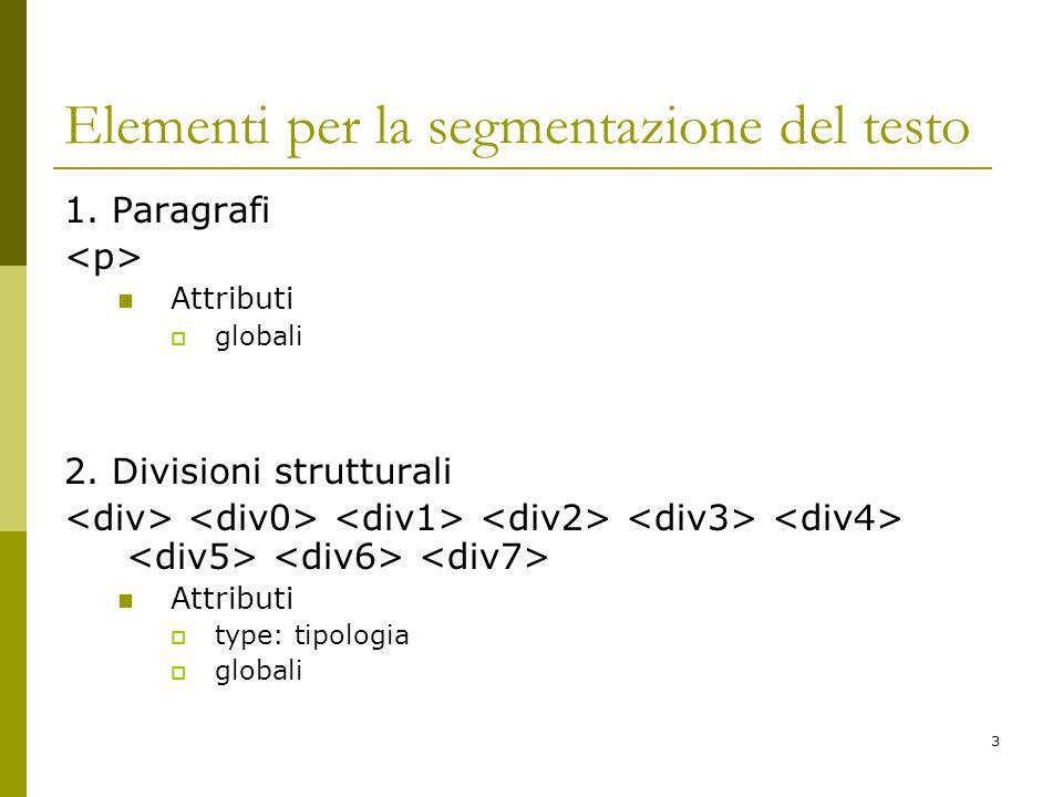 Elementi per la segmentazione del testo