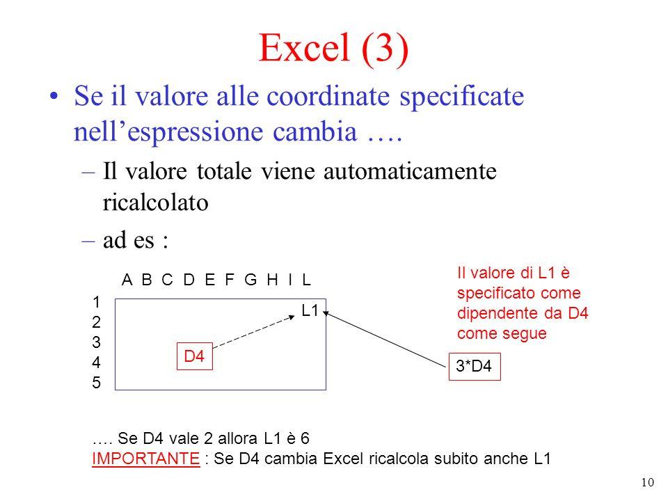 Excel (3) Se il valore alle coordinate specificate nell'espressione cambia …. Il valore totale viene automaticamente ricalcolato.