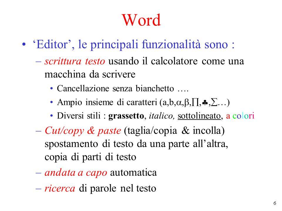 Word 'Editor', le principali funzionalità sono :