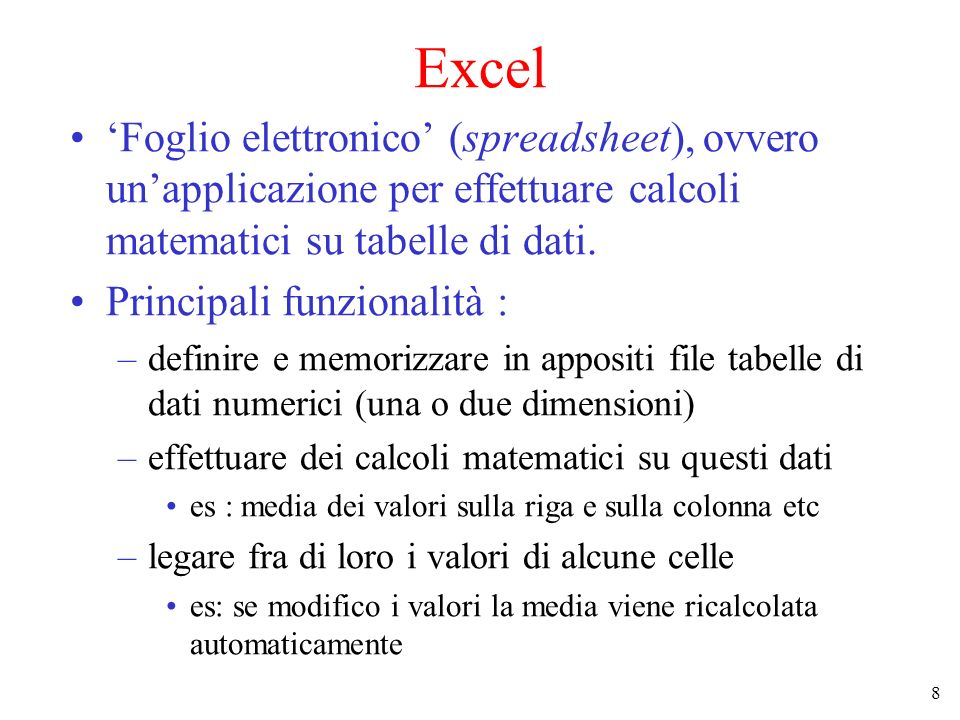 Excel 'Foglio elettronico' (spreadsheet), ovvero un'applicazione per effettuare calcoli matematici su tabelle di dati.