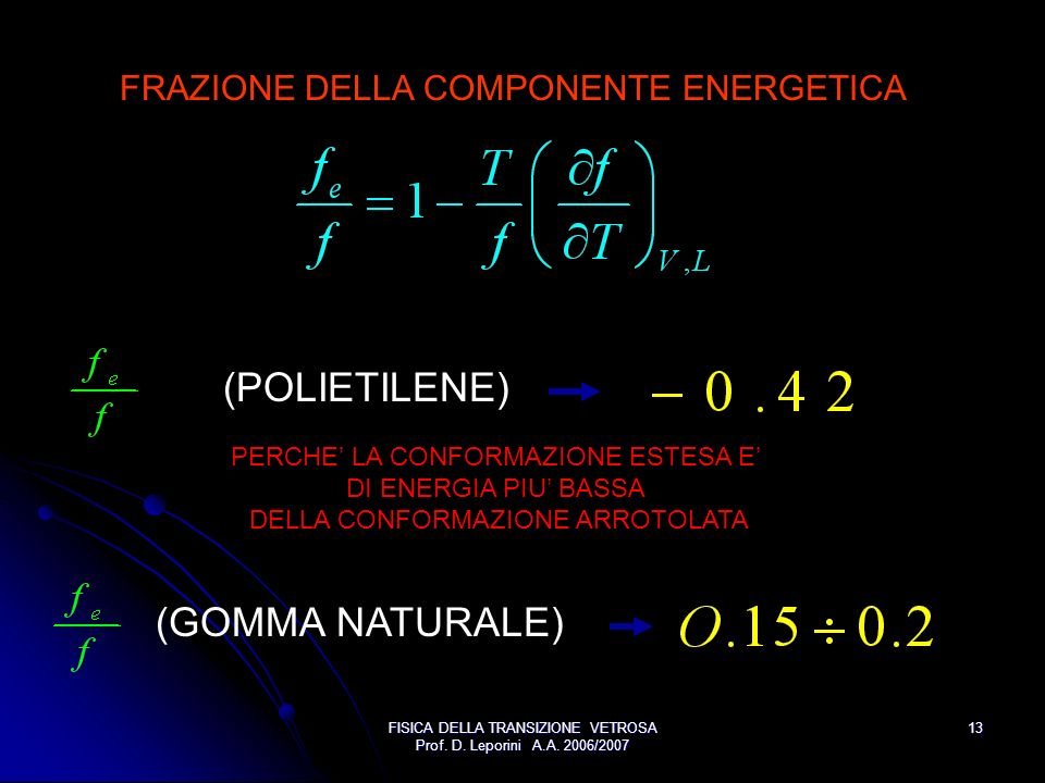 (POLIETILENE) (GOMMA NATURALE) FRAZIONE DELLA COMPONENTE ENERGETICA