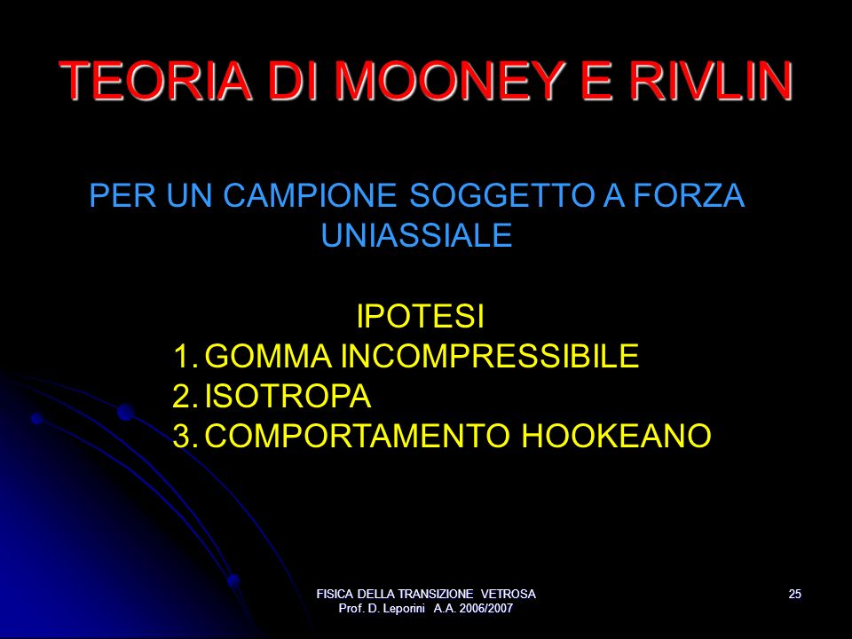TEORIA DI MOONEY E RIVLIN