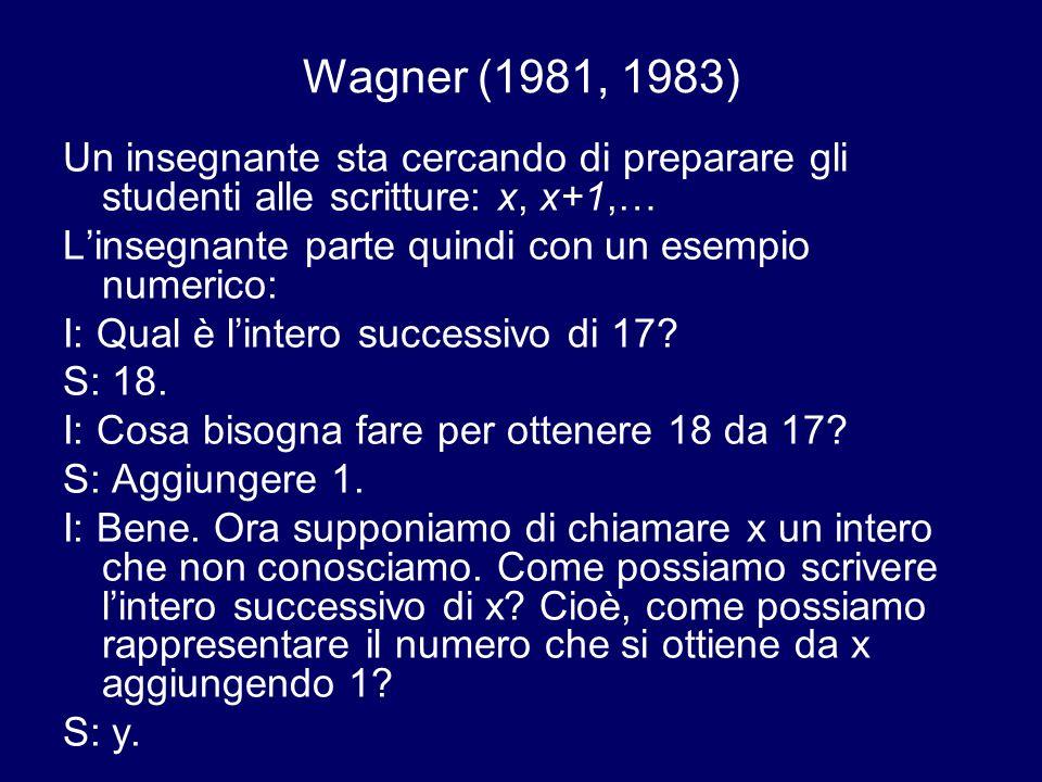 Wagner (1981, 1983) Un insegnante sta cercando di preparare gli studenti alle scritture: x, x+1,… L'insegnante parte quindi con un esempio numerico: