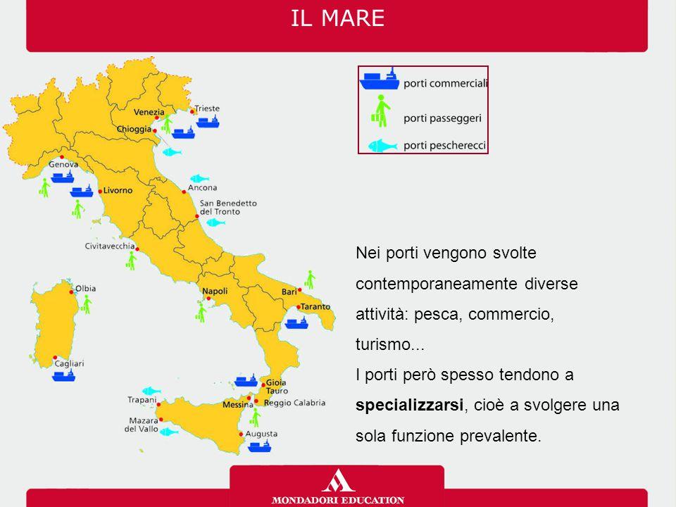 IL MARE Nei porti vengono svolte contemporaneamente diverse attività: pesca, commercio, turismo...