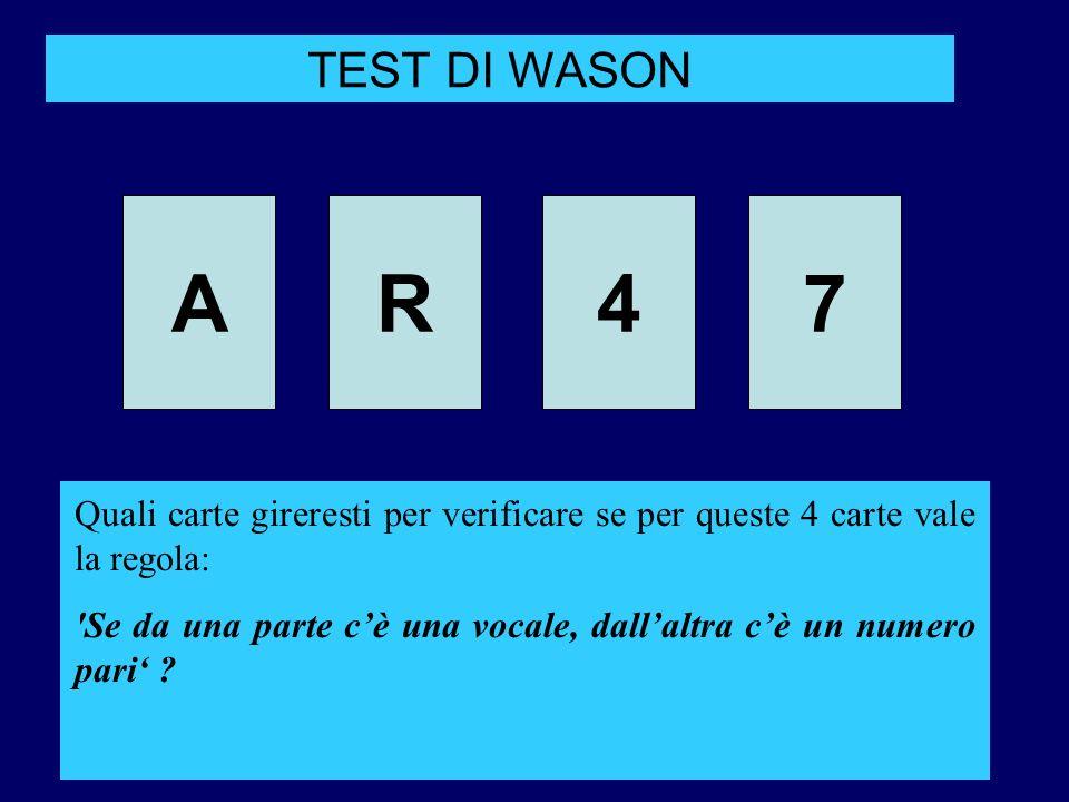 TEST DI WASON A. R. 4. 7. Quali carte gireresti per verificare se per queste 4 carte vale la regola: