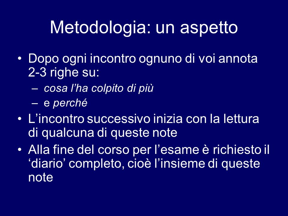 Metodologia: un aspetto