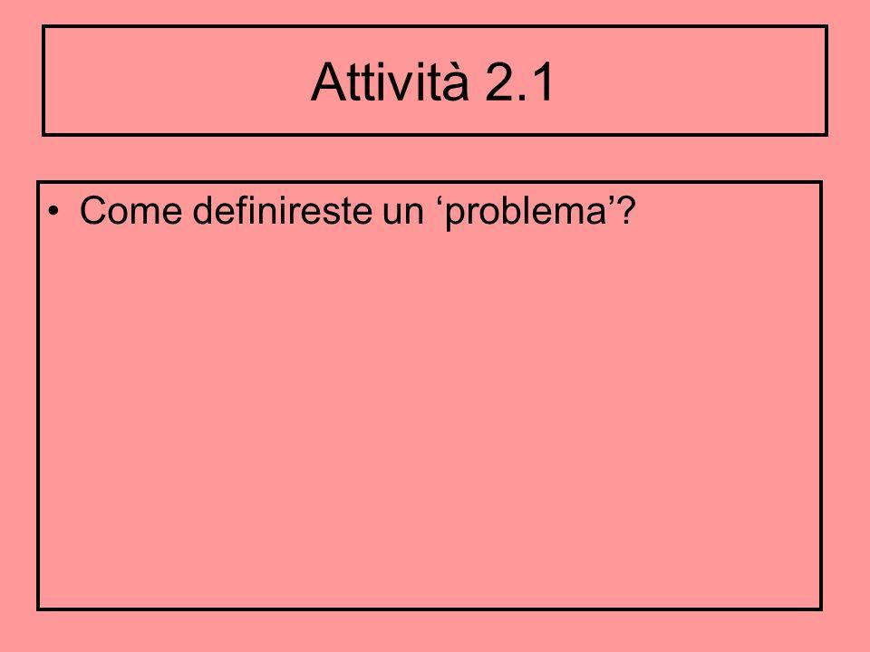 Attività 2.1 Come definireste un 'problema'