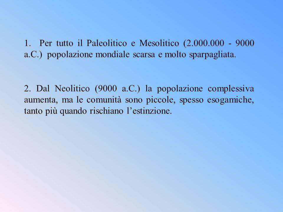 1. Per tutto il Paleolitico e Mesolitico (2. 000. 000 - 9000 a. C