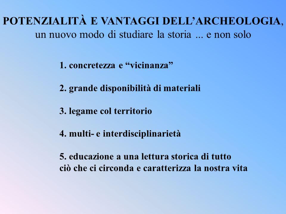 POTENZIALITÀ E VANTAGGI DELL'ARCHEOLOGIA,