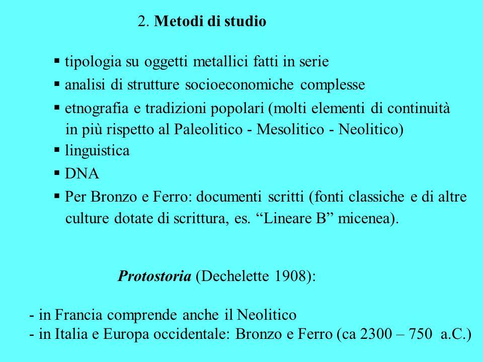 2. Metodi di studio tipologia su oggetti metallici fatti in serie. analisi di strutture socioeconomiche complesse.