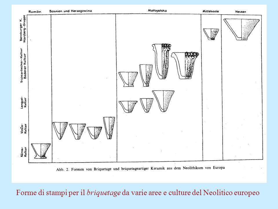 Forme di stampi per il briquetage da varie aree e culture del Neolitico europeo