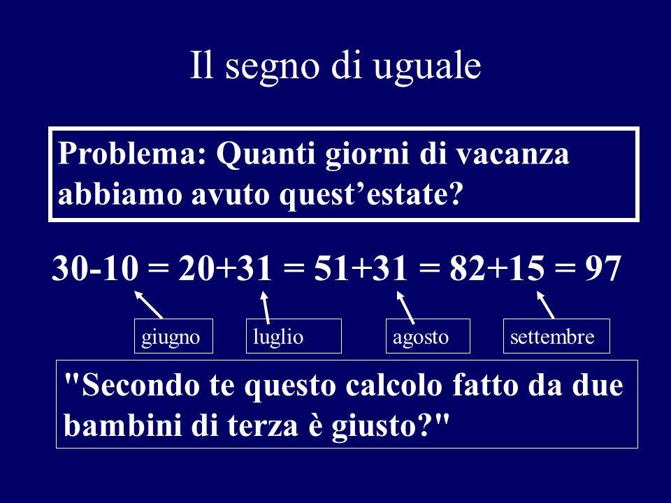 Il segno di uguale 30-10 = 20+31 = 51+31 = 82+15 = 97