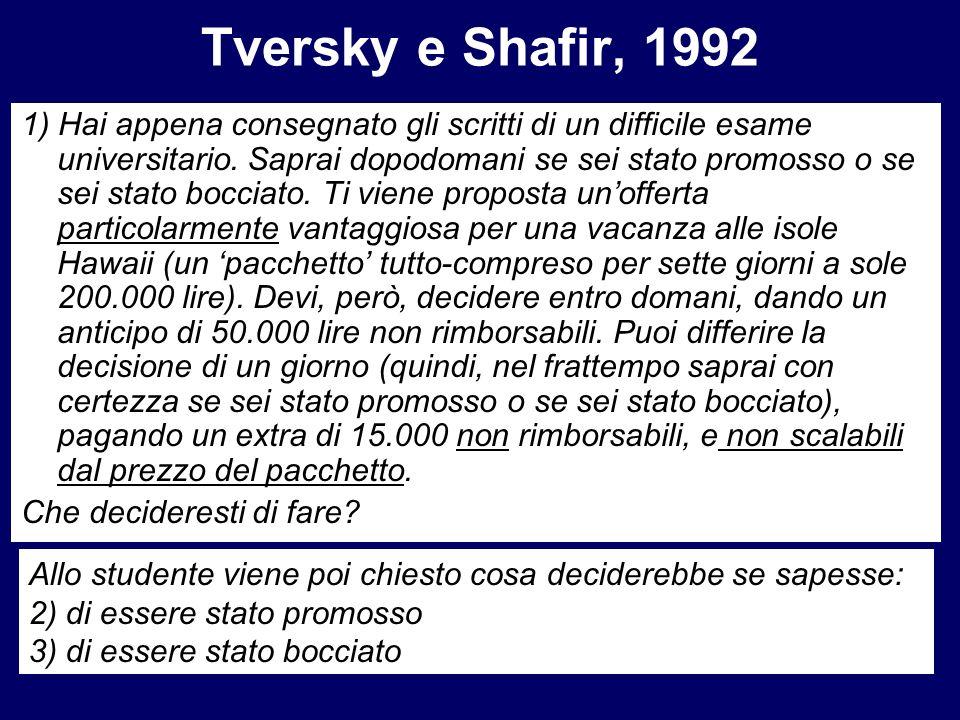 Tversky e Shafir, 1992