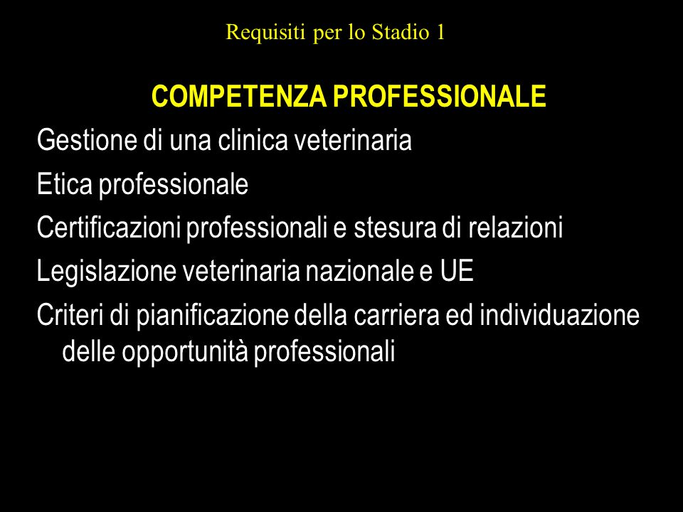 Requisiti per lo Stadio 1