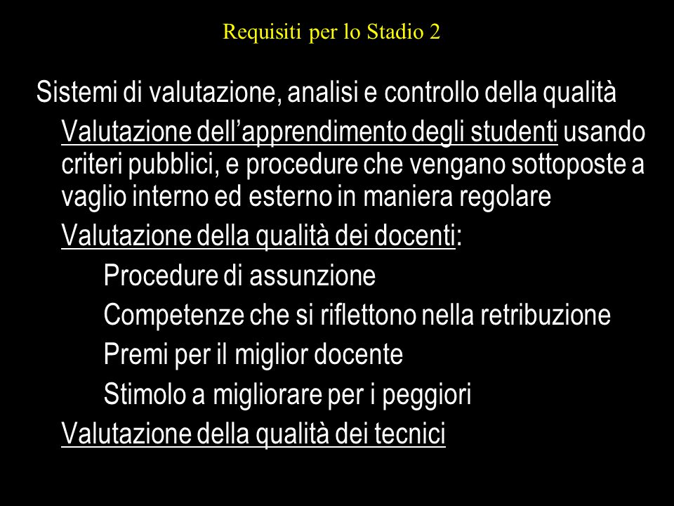Requisiti per lo Stadio 2