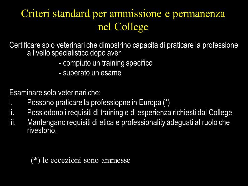 Criteri standard per ammissione e permanenza nel College
