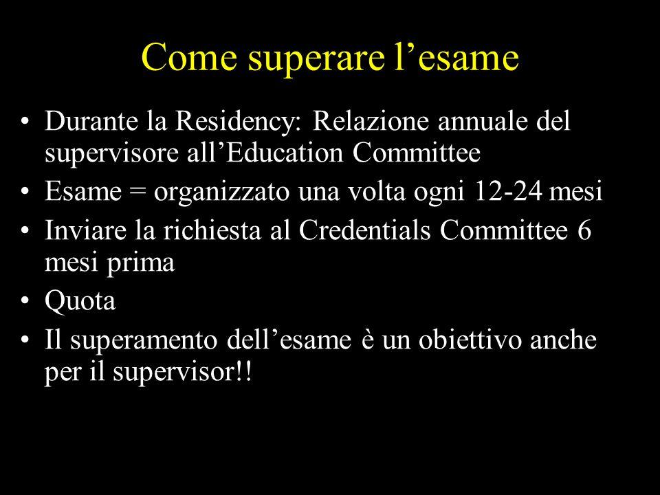 Come superare l'esameDurante la Residency: Relazione annuale del supervisore all'Education Committee.