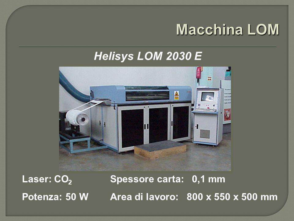 Macchina LOM Helisys LOM 2030 E Laser: CO2 Spessore carta: 0,1 mm