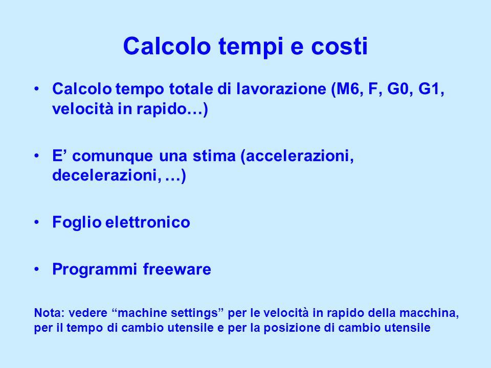 Calcolo tempi e costi Calcolo tempo totale di lavorazione (M6, F, G0, G1, velocità in rapido…)
