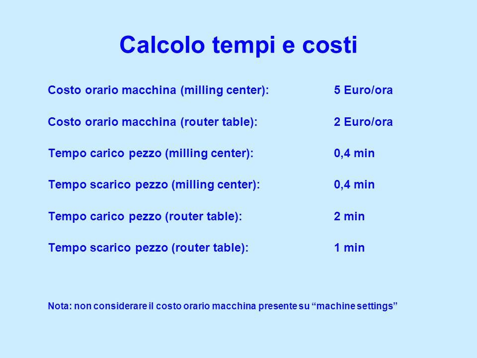 Calcolo tempi e costi Costo orario macchina (milling center): 5 Euro/ora. Costo orario macchina (router table): 2 Euro/ora.