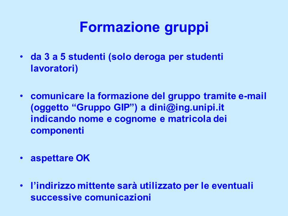 Formazione gruppi da 3 a 5 studenti (solo deroga per studenti lavoratori)