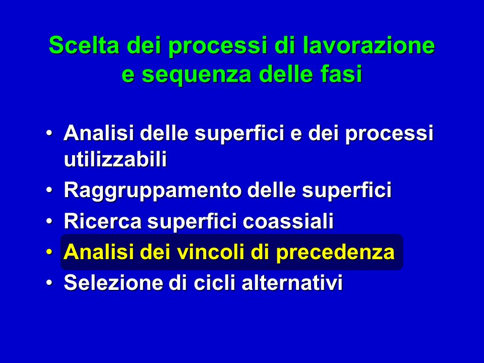 Scelta dei processi di lavorazione e sequenza delle fasi