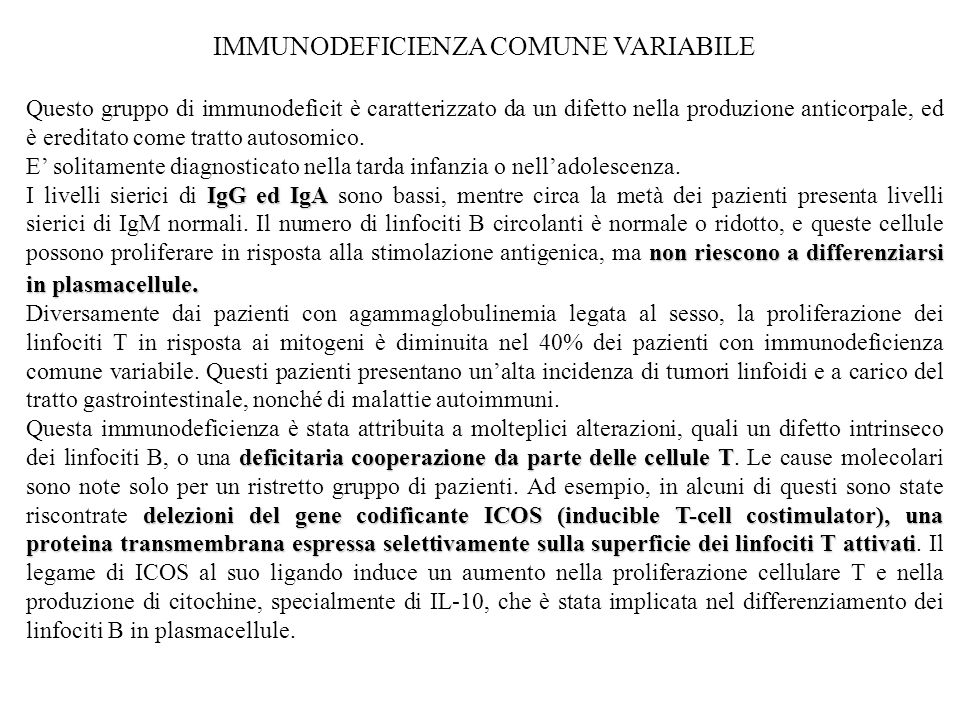 IMMUNODEFICIENZA COMUNE VARIABILE