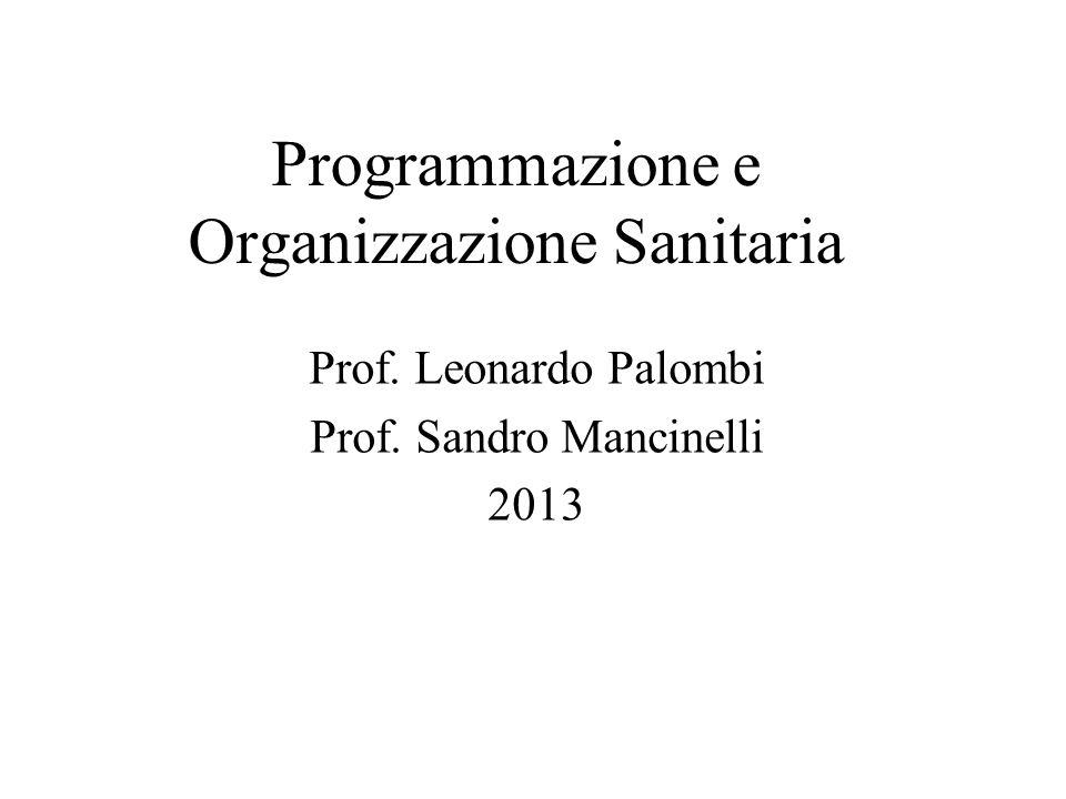 Programmazione e Organizzazione Sanitaria