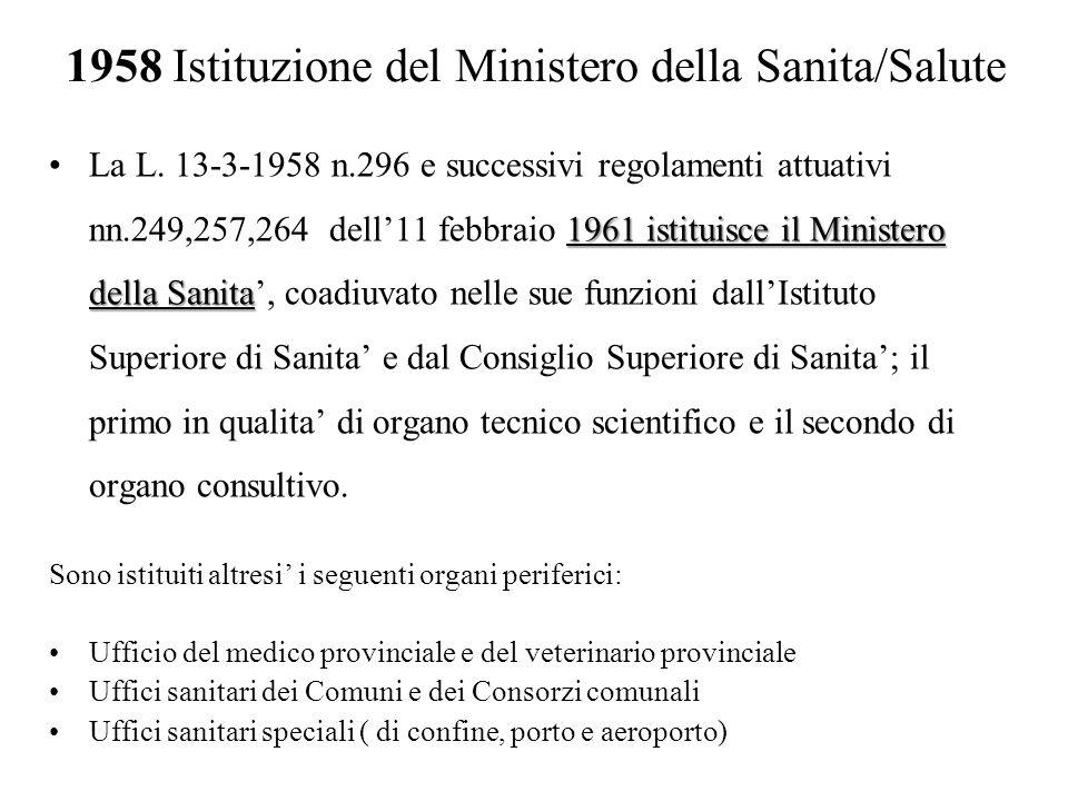 1958 Istituzione del Ministero della Sanita/Salute