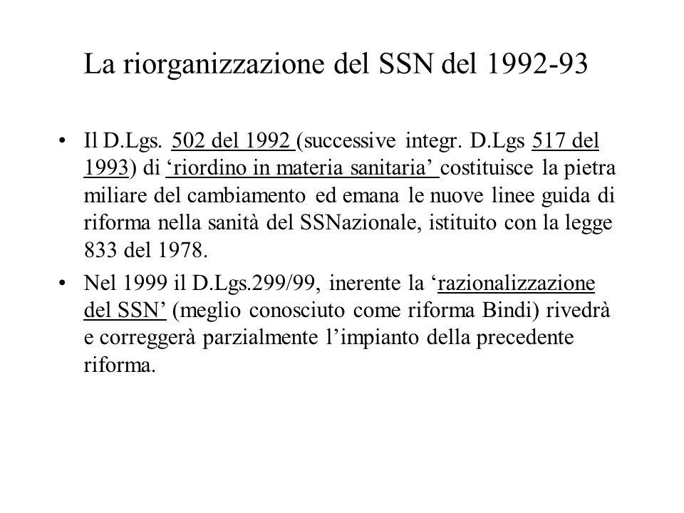 La riorganizzazione del SSN del 1992-93