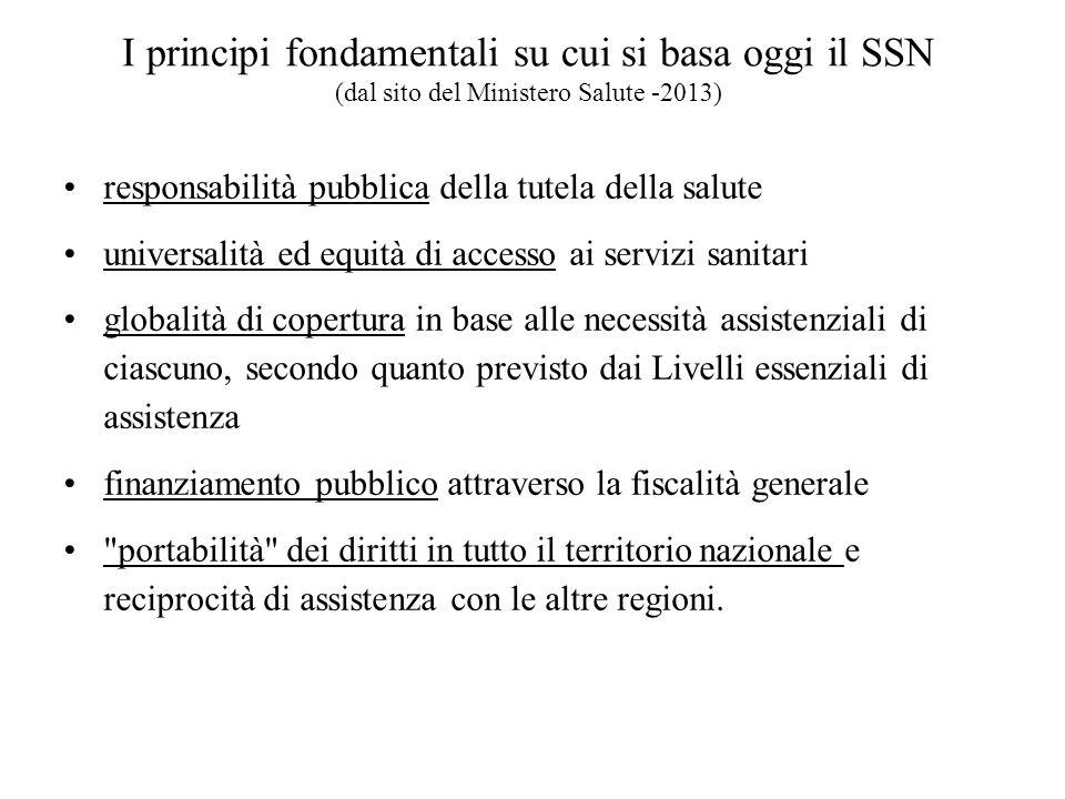 I principi fondamentali su cui si basa oggi il SSN (dal sito del Ministero Salute -2013)