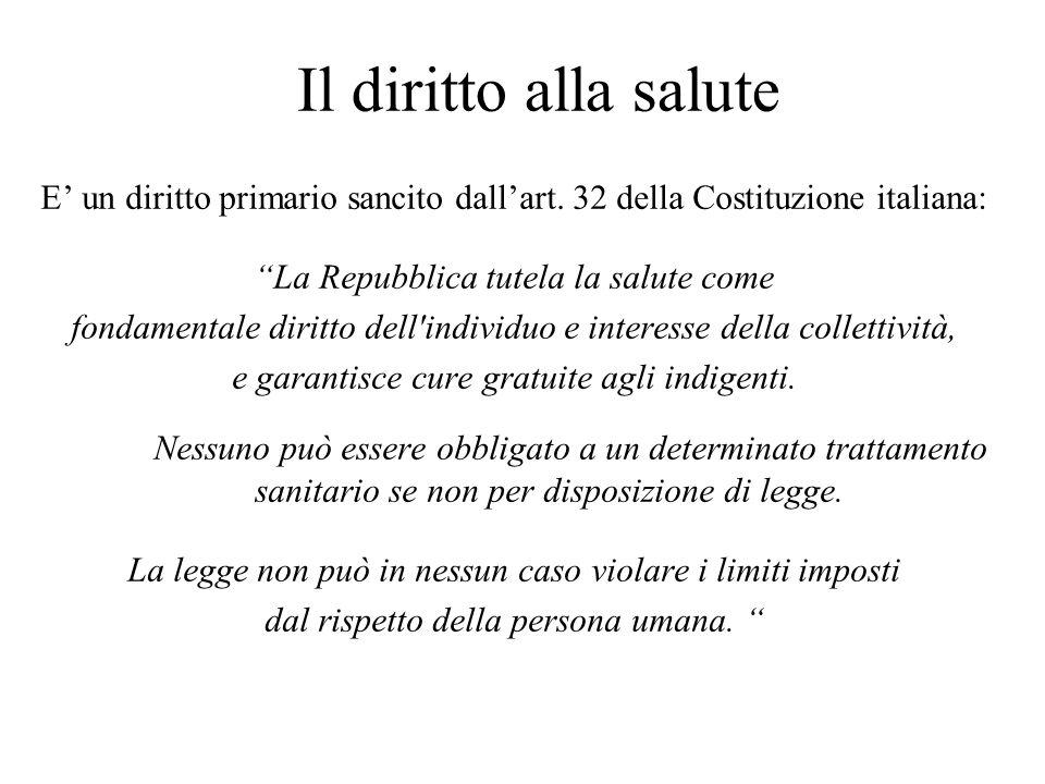 Il diritto alla salute E' un diritto primario sancito dall'art. 32 della Costituzione italiana: La Repubblica tutela la salute come.