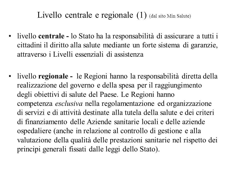 Livello centrale e regionale (1) (dal sito Min Salute)